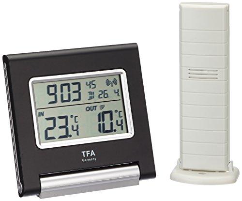 TFA Dostmann Spot Funk-Thermometer, 30.3030, Höchst-und Tiefwerte, Außentemperatur, Innentemperatur