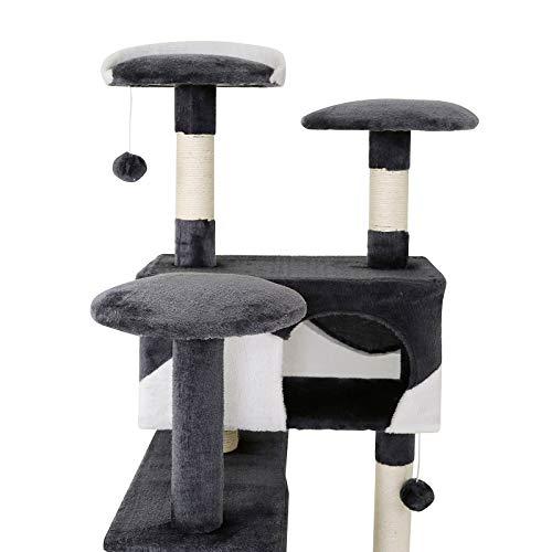 Katzenkratzbaum, Kratzbaum für Katzen 130 cm Höhe (grau / weiß) - 5
