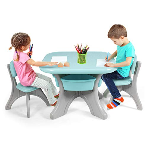 COSTWAY Kids Table and Chairs Set, Children Activity Art Table and 2 Chairs Set with Detachable Storage Bins, 3 Pieces Kids Plastic Furniture for Boys Girls (Green)