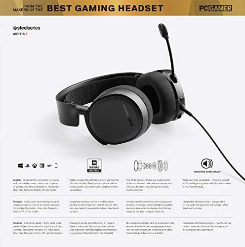 SteelSeries Arctis 3 - Casque de Jeu toutes Plateformes - pour PC, PlayStation 4, Xbox One, Nintendo...