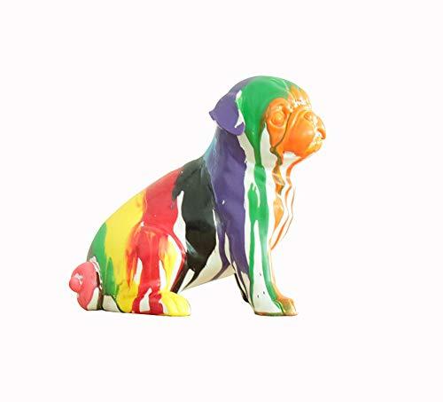 Meubletmoi Statue Petit Chien Assis Carlin - Multicolore - Objet décoration Tendance