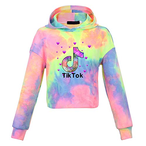 Queenromen TIK-Tok Tie-Dye Crop Hoodie Langarm Pullover Sweatshirt Tops Jungen Mädchen Gr. 9-10 Jahre, Mehrfarbig