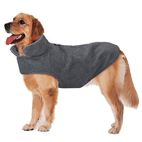 Bwiv Cappotto per Cani Grandi Media Giacche in Pile Cane Reversibile con Apertura per Guinzaglio Giubbotto Caldo Striscia Riflettente Invernale,Grigio