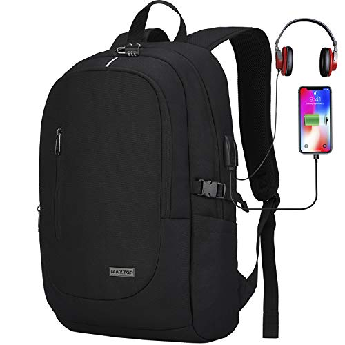 Laptop Backpack Rucksack with USB Charging Port Anti-Theft[Water Resistant] College Bookbag School Business Travel Backpack Computer Backpack for Men Women Fits up to 15.6-inch Notebook (Black-1)