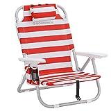 SONGMICS Strandstuhl mit Kühltasche, Aluminium, Flaschenhalter und Kopfkissen, Klappstuhl, tragbarerer Campingstuhl, faltbar, verstellbar und robust, Outdoor-Stuhl, rot-weiß gestreift GCB63BU