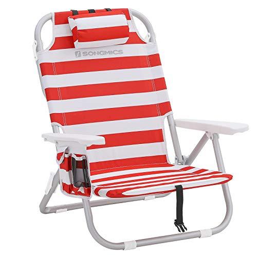 SONGMICS Strandstuhl mit Kühltasche, Klappstuhl, tragbarerer Campingstuhl, aus Aluminium, Flaschenhalter und Kopfstütze, faltbar, verstellbar, Outdoor-Stuhl, rot-weiß gestreift GCB63BU