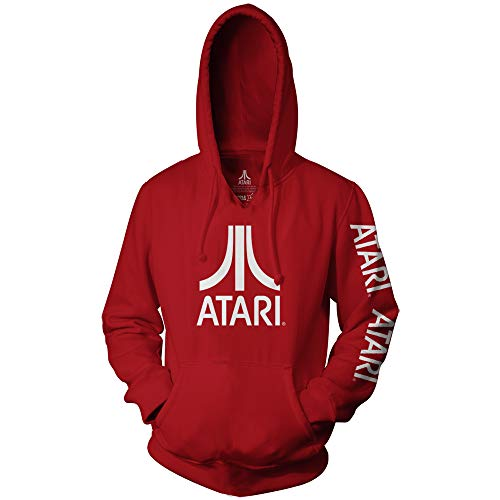 Adults Red Official Atari Logo Hoodie, Unisex, S to 3XL