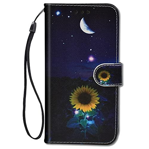 ChoosEU Leder Hülle für Samsung Galaxy A32 5G Klapphülle, Muster Handytasche Schutzhülle Flip Case Stoßfeste Silikon Motive Handyhülle, Klappbar Lederhülle für Galaxy A32 5G Cover - Sonnenblume