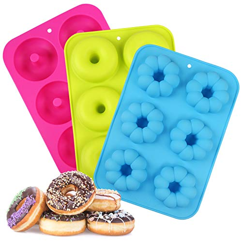 LinStyle Molde para Donut de Silicona, 3 Pieza Antiadherente Molde Donuts para Pasteles, Galletas,Bagels, Muffins-Naranja, 6 Cavidades, Verde, Azul, Rosa Roja