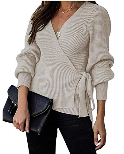 ZIYYOOHY Femme Élégant Pull Tricoté Wrap Col V Croisé Princesse Manches Cardigan Sweater avec Laisse Ceinture (Abricot, XL)