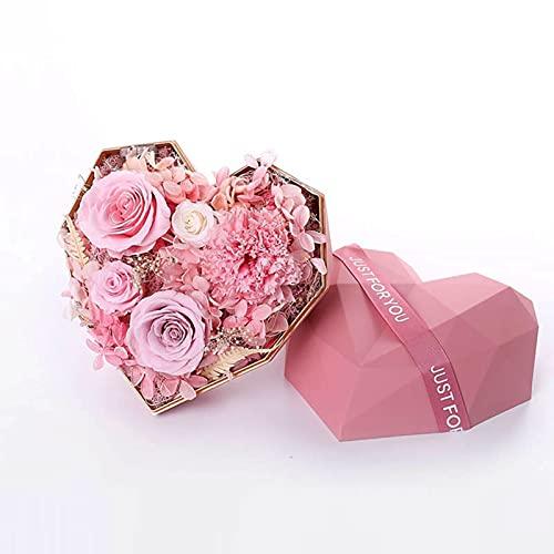 Ownlife Flor de Rosa eterna en Forma de Regalo de Forma de corazón Flores Artificiales para Mujeres, Navidad, Boda, día de San Valentín, Aniversario y cumpleaños