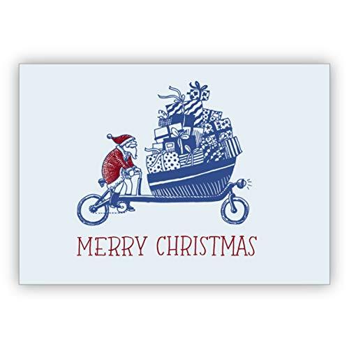 Grappige kerstkaart met kerstman op de fiets: Merry Christmas • Uitklapkaartenset met enveloppen voor kerstfeest, Nieuwjaar voor familie, vrienden, collega's van de firma 1 Weihnachtskarte
