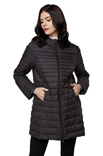Elezay Women's Winter Light Weight Down Jacket Hooded Coat Black 2XL