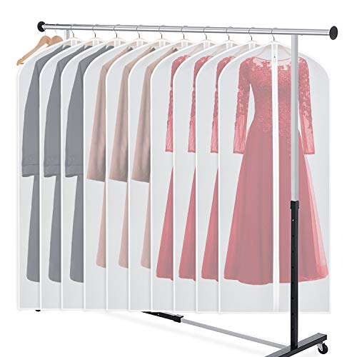 Zilink Garment Bag Dress Bags for Storage Set of 10 Anti-Moth Long Dresses Suit Protector Cover 60-inch with Full-Length Zipper for Suit, Coat, Long Winter Coat, Long Dress Closet Storage