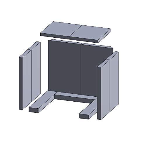 Flamado Feuerraumauskleidung Komplettset 11-teilig passend für Hark Kamin Ersatzteile Kaminofen Brennraumauskleidung Schamotte/Vermiculite 1.150°C