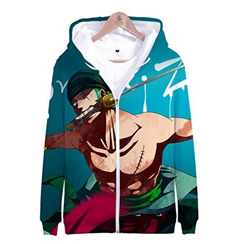 Rbop Hombre Unisex Tops Anime 3D Impreso Cosplay Sudadera Pullover con Capucha One Piece Zipper