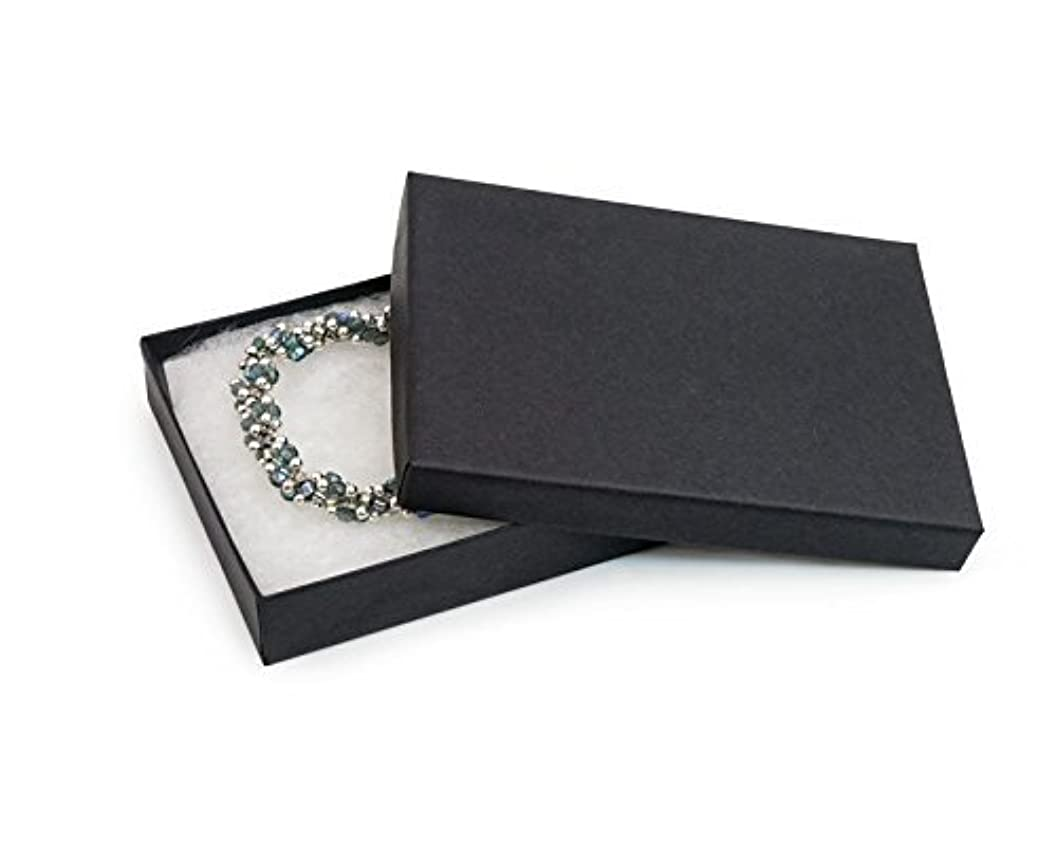 6 Pack Cotton Filled Matte Black Color Paper Cardboard Jewelry Necklace Bracelets Watch Gift and Retail Boxes Size 7 1/8