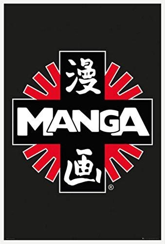 Manga Poster Logo + accessoires Kunststoff-Rahmen weiss