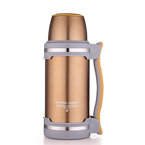 Oneisall GYBL0742 l Edelstahl-Thermosflasche, Isolierflasche–doppelwandiger Edelstahl (BPA-frei), mit Trinkbecher, zum Wandern/Camping/Sport uvm. champagnerfarben