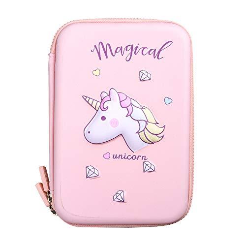 Estuche 3D para lápices con diseño de unicornio, color rosa