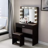 Vanity Set with Lighted Mirror, Makeup Vanity Dressing Table Dresser Desk with Large Drawer for Bedroom, Walnut Bedroom Furniture(12 Cool LED Bulbs) (Bedroom, A)