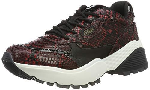 s.Oliver Damen 5-5-23610-23 Sneaker, Schwarz (Blk/Red Snake 056), 42 EU
