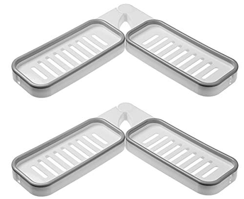 QCHYYDS Bathroom Corner Punch-Free Rack,180 Degree Rotation Storage Rack Corner Shower Shelves (2 White Gray)