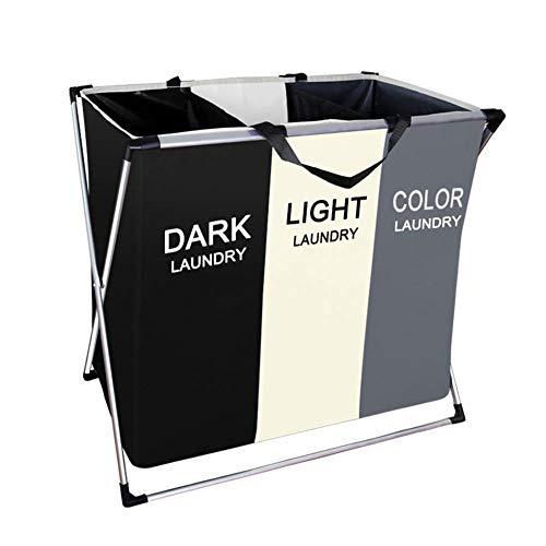ZYDJ 100L inklapbare wasmand met handvat en aluminium beugel, afneembare en wasbare grote waszak met 3 secties