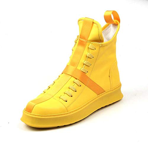 2019 Spring Shoes Men Youth Casual Shoes Platform hip-hop Short Boots Men Yellow Leisure Shoes for Web Celebrity Yellow 5.5