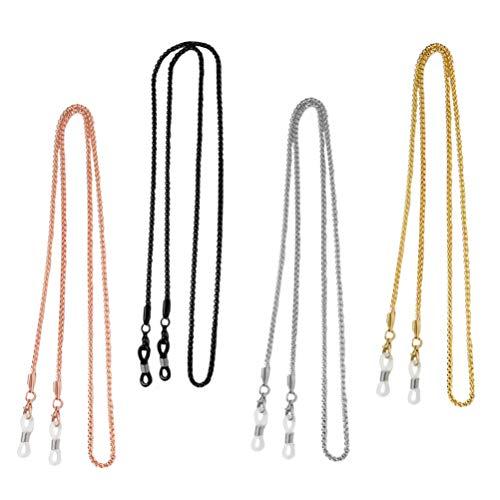 Minkissy 4 Piezas de Cadenas de Gafas Soporte de Correa de Vidrio de Lectura Cordón de Gafas de Sol Cadenas de Gafas de Retención Cadenas de Collar de Cuentas