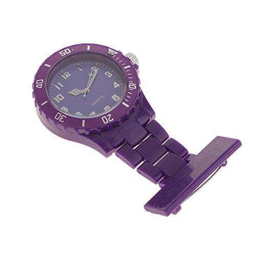MagiDeal Reloj Broche de Enfermería Bolsillo y Silicona Cuarzo Analogico Lavable - PÚRPURA