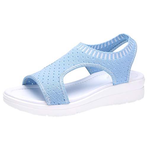ZIYOU Plateau Sandalen Frauen Atmungsaktiv Komfort Aushöhlen Lässige Sport Wedges Tuch Schuhe (Himmelblau,43 EU)