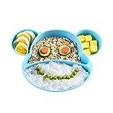 YOOFOSS Assiettes en silicone pour bébés,tout-petits et enfants, avec une forte aspiration, Sans BPA, approuvé au lave-vaisselle et au micro-ondes, approuvé par la FDA (Bleu)