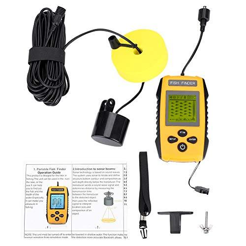 Dioche Sonar de Pesca Portátil, Buscador de Peces LCD Portátil de 100 M con Accesorio de Pesca con Sensor de Sonar TL88E