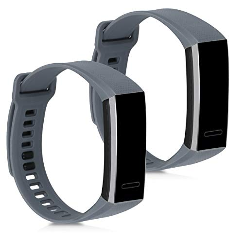 kwmobile 2X Pulsera Compatible con Huawei Band 2 / Band 2 Pro - Brazalete de Silicona Gris sin Fitness Tracker