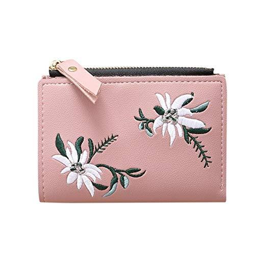 Monedero Plegable para Mujer con diseño de Flores Bordado, con Cremallera, Tarjetero, Billetera y Monedero para Mujer, Rosa Claro (Rosa) - jig-1252
