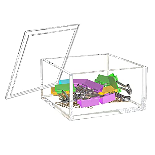 NIUBEE Small Acrylic Box with Lid, Clear Box Square Container to Hold Staples, Highlighters, Adhesive Tape, Paper Clips, Stamps, Stackable Mult-Purpose for Office and Home (Medium)