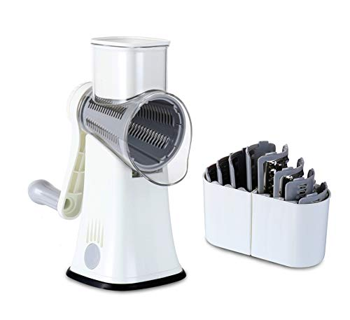 Rotary Cheese Grater,5 in 1 blade Kitchen Mandolin Vegetable Slicer Safe and efficient Julienne Shredder,can be used for hard fruits and vegetables poeinle