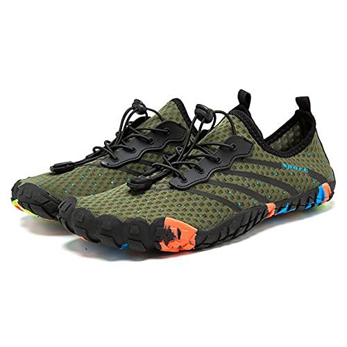 Zapatos de Ciclismo Ligeros para Exteriores Zapatos de Senderismo Ligeros Natación en La Playa Zapatos de Cinco Dedos Zapatos de Malla Río Arriba,Green-42