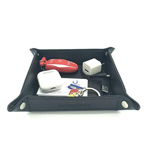 UnionBasic Small Desk Organizer - Fully PU Leather Jewelry Catchall Key Phone Coin Tray Change Caddy Bedside Storage Box (Black)