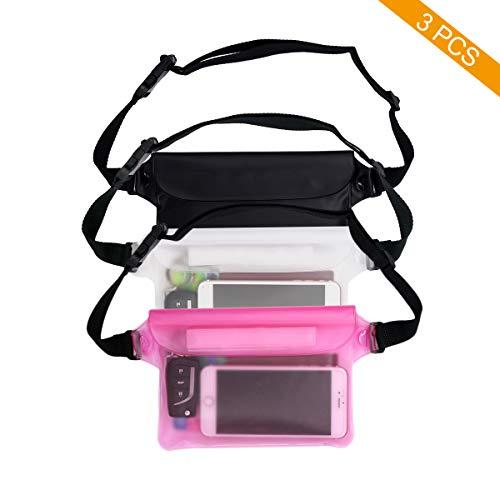Coideal 3 Pack Waterdichte Pouch Dry Bag Case met verstelbare taille riem voor strand zwemmen boot reizen wandelen, transparant scherm aanraakbaar voor telefoon en waardevolle spullen