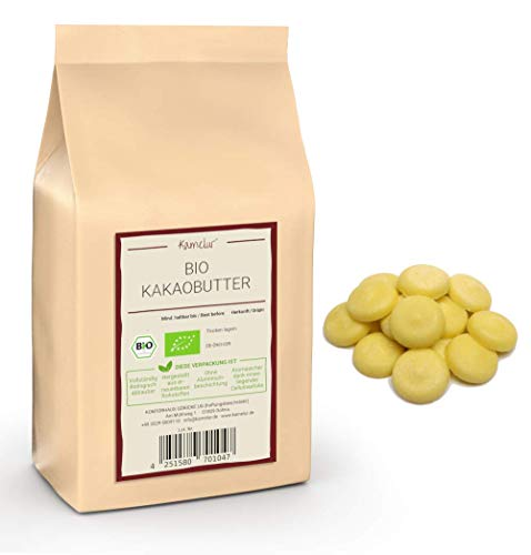 1kg de beurre de cacao BIO pressé à froid à partir de fèves de cacao Criollo – de qualité alimentaire, sans aucun additif - aliment cru - emballages écologiques