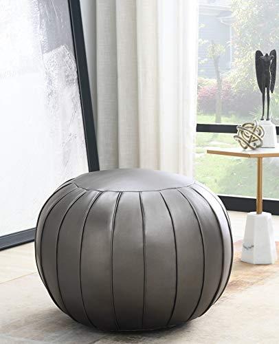 Comfortland Unstuffed Ottoman Pouf Covers,Large Faux Leather Foot Stool, 25x17 Inches Round Poof Seat, Floor Bean Bag Chair,Foot Rest Storage Solutions for Living Room, Bedroom, Kids Room Silver Grey