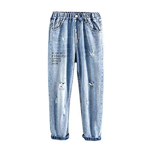 LAPLBEKE Bambino Cotone Denim Pantalone - Bambini Sciolto Strappato Jeans - Ragazzi Ragazzo Scuola Primavera Autunno Elastico Vita Pantaloni Blu 12-13 Anni