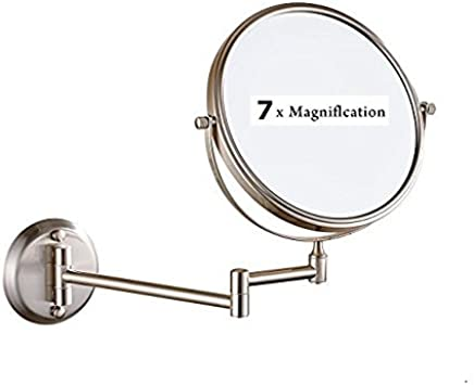 LeHang Double Sided Wall Mounted Makeup Mirror with 7x Magnification, 8 inch, Nickel brushed L1306, Nickel Brush (8in, 7x)