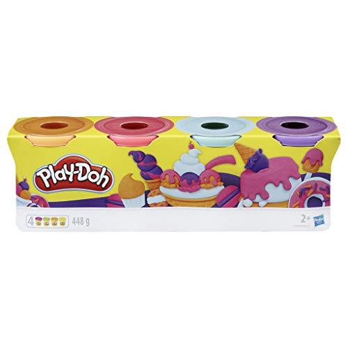 Play-Doh Confezione da 4 pastiglie per Bambini dai 2 Anni in su, da 112 g (Rosa, Azzurro, Arancione, Lilla), per Giochi fantasiosi e creativi, Colore, E4869ES0
