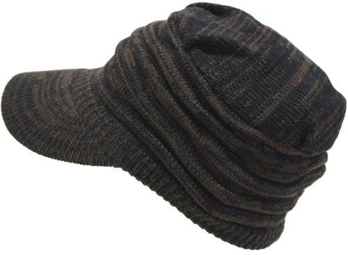 (エクサス)EXAS アクリルつば付きミックスカラーボーダー編みニット帽(ワークキャップ ニット帽子 ニットワッチ ) ブラックブラウン