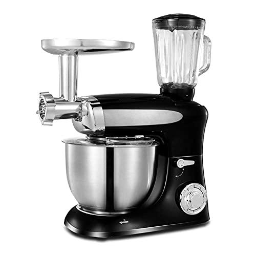 Water cup Exprimidor eléctrico para robot de cocina todo en uno con picadora de carne, exprimidor K batidor gancho para amasa, batidor y cuenco de 6,5 litros, 1300 W, color negro