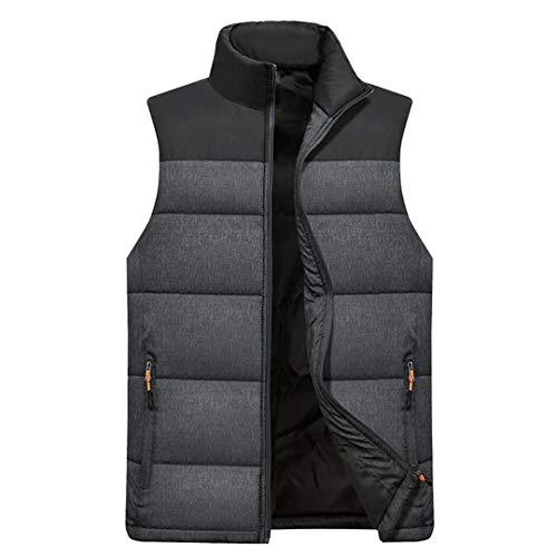 Manteaux Chauds épais Hommes Zipper Poches Multiples Casual Gilets Veste sans Manches Dark Grey XL