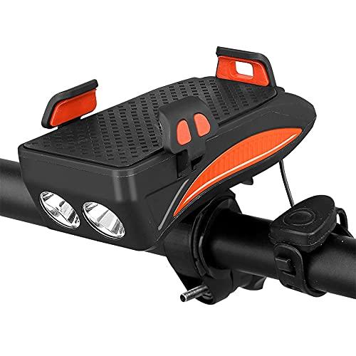 GOURIXIN Luz Bicicleta Recargable USB, 2000mAh Linterna Bicicleta con Soporte para Teléfono, Campana y Luz Trasera Bicicleta, Luz LED Bicicleta para Ciclismo de Montaña y Carretera Orange 4000mAh